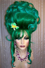 Drag Queen Wigs Costume Dark Green Lt. Tips Up Do French Twist Bangs Curls