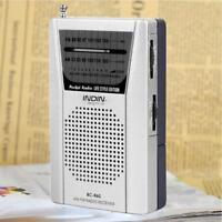 Mini Portable AM FM Radio Speaker Telescopic Antenna 3.5mm Earphone Jack FT