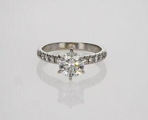 0.80 CARAT E  SI1 ROUND CUT DIAMOND ENGAGEMENT RING 14K WHITE GOLD CERTIFIED