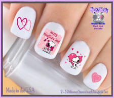 24 Nail Decals #7617 VALENTINES Pink Hearts Cupid Dog WaterSlide Nail Transfers