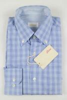 NWT $625 BRIONI Blue Plaid Cotton Slim Fit Dress Shirt Size Small