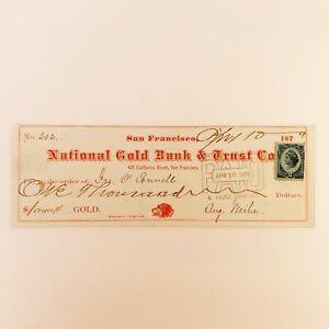 1879 San Francisco NATIONAL GOLD BANK & TRUST CO. check w/ Blue 2c Revenue Stamp