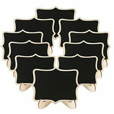 10x Double Sided Mini Wooden Blackboard Chalkboard Message Board Sign Tags