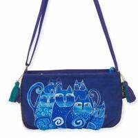 Laurel Burch Feline Cat Small Crossbody Purse Tote Bag Handbag Blue