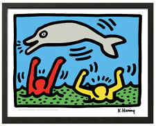 Keith Haring JUMPING DOLPHIN Framed 16x20 Giclee Pop Art Print **SALE