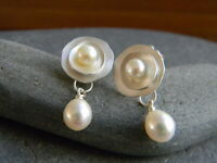 Charming 925 Silver Pearl Dangle Drop Earrings Stud Ear Hook Women Party Jewelry