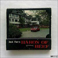 Jack Farr's Baron Of Beef Restaurant Sherbrooke 7501220 Matchbook (MK112)