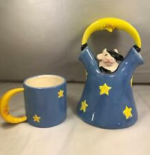 Vintage Clay Art 1993 Cow under the Moon Series Teapot and Cup Tea Pot RARE S7