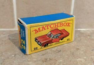 VINTAGE MATCHBOX LESNEY - 22 PONTIAC GP SPORTS COUPE - EMPTY ORIGINAL E4 BOX