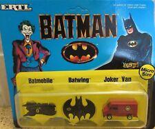 "1989 Batman's "" Micro Batmobile / Batwing / Joker Van ERTL ( NIP/Box 66 )"