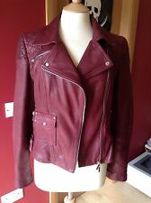 Karen Millen Limited Signature Leather Jacket A/W13 Wine / Red UK 14