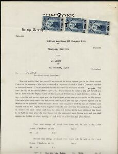 YUKON TERRITORY LAW STAMP #YL13 x3 on 1950 LEGAL DOCUMENT