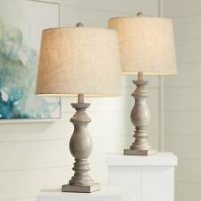 Traditional Table Lamps Set of 2 Beige Washed for Living Room Family Bedroom