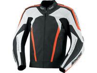 iXS Lederjacke Kuma | Schwarz-Weiß-Neonrot | Motorradjacke aus Rindsleder
