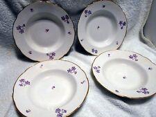 4 Antique Rim Soup Bowl Johnson Bros. Semi-Porcelain Floral Violet Pattern 1900s