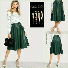 Lovely Dark Green White Stiching Faux Leather Belted Swing Skirt M