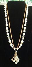 """24"""" Vintage Faux Pearl Necklace With Glass Beads Gold Rope Bobble Slide Clasp."""