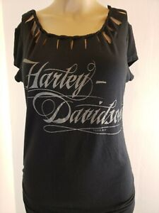 Harley-Davidson Women's Top Blouse Black Silver New York Motorcycles Size Small