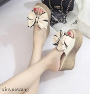 Womens Platform Bowknot Open toe High Wedge Heel Slippers Shoes Sexy Sandals SZ