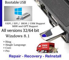 USB 8GB Windows 8.1 All Versions 32 & 64 bit - Reinstall, Recovery, Repair w/HD