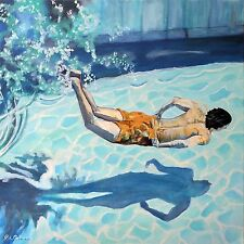 """""""The Swimmer"""" in Pool Acrylic Painting 24x24 by Artist Rick Osborn"""