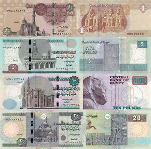 Egypt 4 PCS Set: 1,5,10,20 Pounds (2018-2021), p-71,p-72,p-73,p-74 UNC