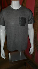 L Grey Marle Short Sleeve Crew Neck T Shirt with Mesh Detailing - Brooklyn Cloth