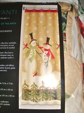 NEW AVANTI Shower Curtain TALL SNOWMEN Winter Scene Red Birds Cardinals Trees