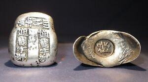 2 Fantastic Qing Dynasty Silver Bar bullions - 1644 - 1912 AD