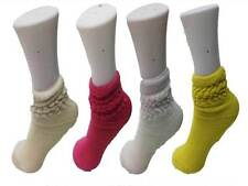 4 X short Slouch Socks Cotton Rich Kids Shoe Size 9-12 pink white ivory yellow