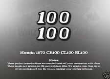 HONDA 1970 CB100 CL100 SL100 SIDE COVER OIL TANK DECALS
