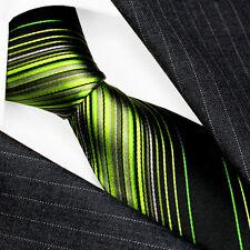 36082 LORENZO CANA - Marken Krawatte Grün Schwarz  100% Seide Silk Neck Tie New
