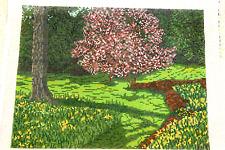 "Needle Point Canvas-Handpainted--""Spring Garden"""