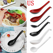 10Pcs Ramen Noodle Soup Spoons Scoop Long Handle Utensil Home Flatware Tableware