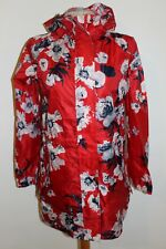 Red Floral Joules Go Lightly Waterproof Pack-Away Parka Coat - size 8 and BNWOT