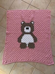 Handmade Crochet Glossy Pink Bear Teddy Baby Blanket