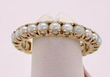 Vintage 14k yellow gold Cultured Pearl Eternity Band Stack Ring sz 7 Shared-Prg
