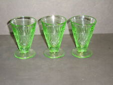"Set of 3 Green Depression Glass Footed Spiral Twist Design 3.25"" Juice Glasses"