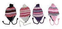 Wholesale lot of 12 Pack Ladies Teen Knit Hat Beanie with Earflap and Pom Pom