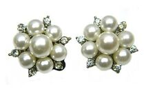 Brand New - Clip on Crystal and Pearl Cluster Earrings Bridal Prom Wedding Studs
