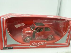 Coca Cola Diecast Large Scale Fiat 500 Decouvrable Car Model Boxed Collectable