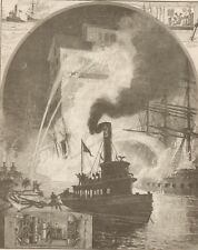 Fire At New York Harbor. River Fire Brigade At Work. Harper's 1882