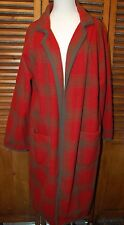 VTG J. Peterman Co. USA MADE 100% Wool Plaid Long Coat Robe Womens Size XS/S EUC