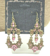 Fashion Earrings Acrylic Rhinestone & Enamel Pink Gold Heavy Hinged Pierced Drop