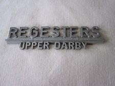 Vintage REGESTERS Chevrolet Car Dealer Chrome Emblem Upper Darby Pa. Nameplate