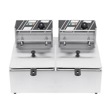 Deep Fryer Dual Tank Commercial Restaurant 5000w Stainsteel 12l Samger