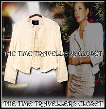 KATE MOSS TOPSHOP IVORY CREAM SILK JACKET TAILORED VINTAGE VICTORIANA UK 10 12