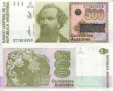 ARGENTINA 500 Australes Banknote World Paper Money UNC Currency Pick p328b Bill