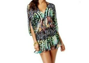 NEW Rachel Roy Printed Swimsuit Cover-up Romper XS