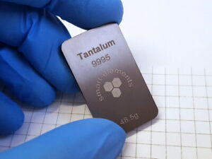 Tantalum metal bullion bar - ingot - 48.5 grams
